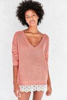 Kimchi & Blue Kimchi Blue Hazel Lace-Trim V-Neck Sweater