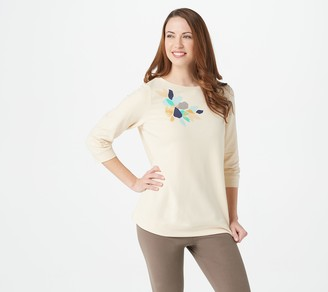 Denim & Co. Active French Terry 3/4-Sleeve Top w/ Banded Hem