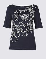 M&S Collection Floral Print Slash Neck Half Sleeve T-Shirt