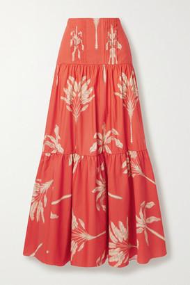 Johanna Ortiz Powerful Rhythm Tiered Printed Cotton Maxi Skirt - Tomato red