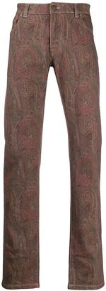 Etro Paisley-Print Straight-Leg Jeans