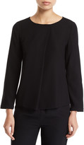 Emporio Armani Long-Sleeve Pleated-Front Tech Cady Blouse