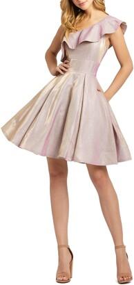 Mac Duggal Ruffle One-Shoulder Metallic Skater Dress