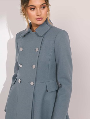 Forever New Louise Fit and Flare Coat - Blue - 4