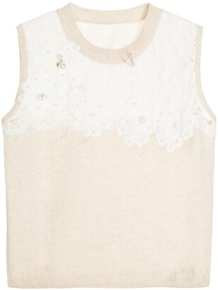 Onefifteen Floral Lace Patch Sweater Vest