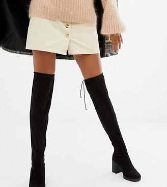 New Look Over The Knee Chunky Heeled Boot-Black