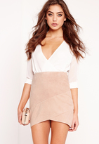 Missguided Faux Suede Wrap Mini Skirt Taupe