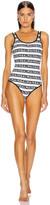 Balmain Iconic Stripes Swimsuit in White & Black | FWRD