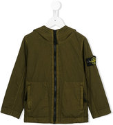 Stone Island Junior - logo patch hooded jacket - kids - Cotton/Polyamide - 8 yrs