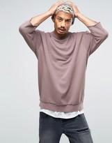 Asos Oversized Longline Sweatshirt With Raw Edges