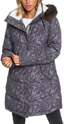 Roxy Ellie Print Waterproof Snow Jacket with Removable Faux Fur Trim