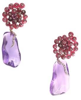 Sharon Khazzam Larra 14K White Gold, Amethyst, Spinel Diamond Drop Earrings