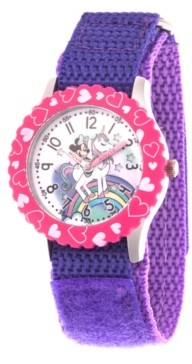 EWatchFactory Girl's Disney Minnie Mouse Purple Stainless Steel Time Teacher Strap Watch 32mm