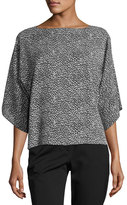 Michael Kors Leopard-Print Silk Boat-Neck Top, Black/White
