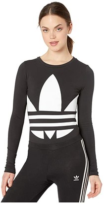 adidas Large Logo Bodysuit (Black/White) Women's Jumpsuit & Rompers One Piece