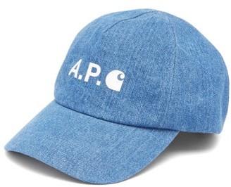 Carhartt A.P.C. X X Logo-print Denim Cap - Mens - Blue