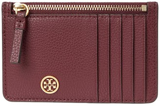 Tory Burch Walker Top Zip Card Case (Claret) Handbags