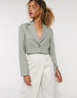 Weekday Dominique cropped blazer in khaki