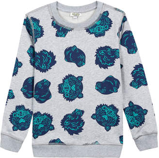 Kenzo Allover Tiger Head-Print Sweatshirt, Size 5-6