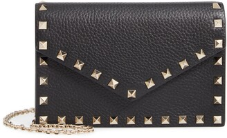 Valentino Rockstud Calfskin Leather Envelope Pouch