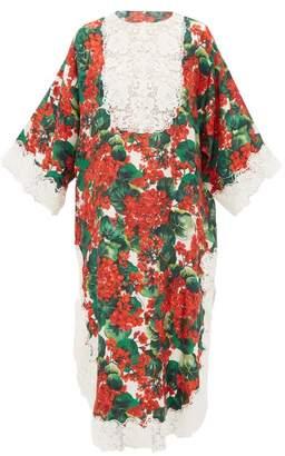 Dolce & Gabbana Lace-trimmed Geranium-print Silk-blend Dress - Womens - Red Multi