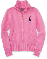 Ralph Lauren Cotton Zip-Up Mockneck Sweater