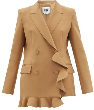 MSGM Double-breasted Ruffled Crepe Blazer - Womens - Camel