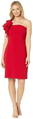 Vince Camuto Asymmetrical Tiered One-Shoulder Crepe Ponte Dress (Tulip Red) Women's Dress