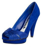 Royal blue suede and satin platforms
