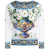 Dolce & Gabbana Dolce & GabbanaGirls Blue Flower Vase Majolica Top