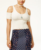 American Rag Juniors' Cotton Cold-Shoulder Sweater Top, Only at Macy's
