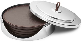 Georg Jensen Manhattan 4-Piece Leather Coaster Set