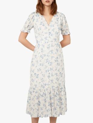 Warehouse Floral Print Button Front Midi Dress, Multi