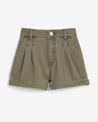 Express High Waisted Pleated Twill Shorts