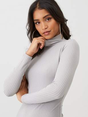 boohoo Jumbo Rib Roll Neck Midi Dress - Grey