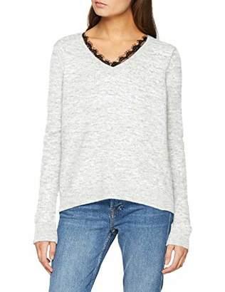 Vero Moda NOS Women's Vmiva Ls V-Neck Lace Blouse Noos (Light Grey Detail: with Snow Melange), 12 (Size: )