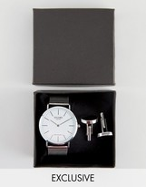 Reclaimed Vintage Inspired Classic Mesh Watch & Cufflinks Gift Set In Silver