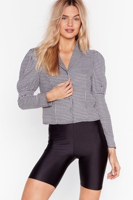 Nasty Gal Womens Look What We Houndstooth Cropped Puff Sleeve Shirt - Black - 4