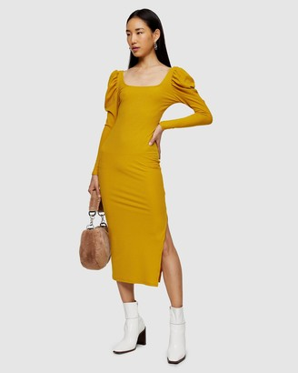 Topshop Ribbed Puff Sleeve Body-Con Dress