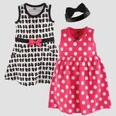 Hudson Baby Girls' 2pk Sleeveless Dress & Bow Headband Set - Black
