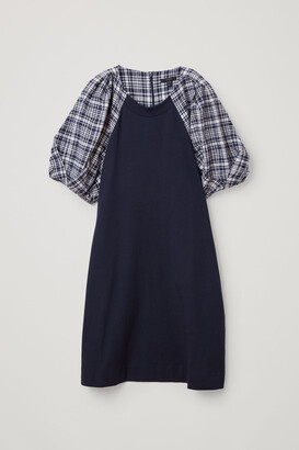 Cos Checked Puff Sleeve Cotton Dress