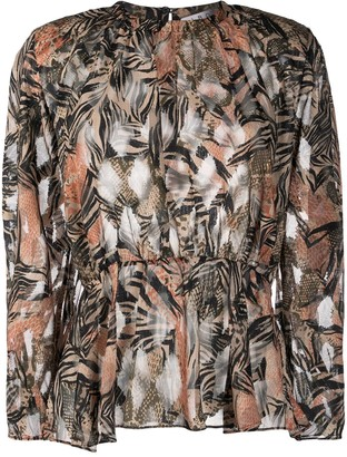 IRO pleated floral blouse