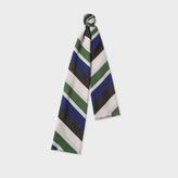 Paul Smith Men's Navy, Green, Black And White Diagonal Stripe Silk-Wool Scarf