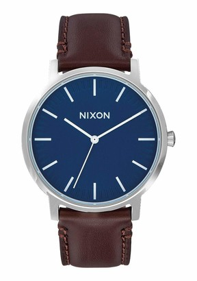 Nixon Porter Leather A1058879-00. Brown Leather and Navy Mens Watch (20-18mm Brown Leather Band and Navy 40mm Watch Face)