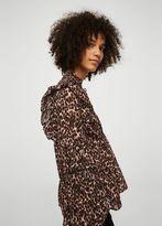 MANGO Ruffled leopard blouse