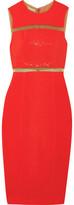 Michael Kors Embellished Tulle-Trimmed Crepe Midi Dress