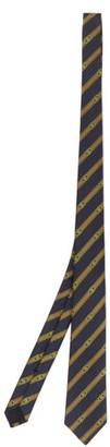 Gucci Striped Gg-jacquard Silk-satin Tie - Navy Multi