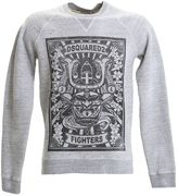 DSQUARED2 Printed Grey Cotton Sweater