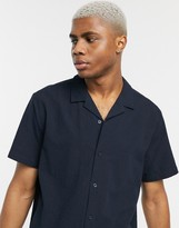 Asos Design DESIGN seersucker revere collar shirt in navy