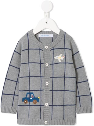 Familiar Checked Knitted Cardigan